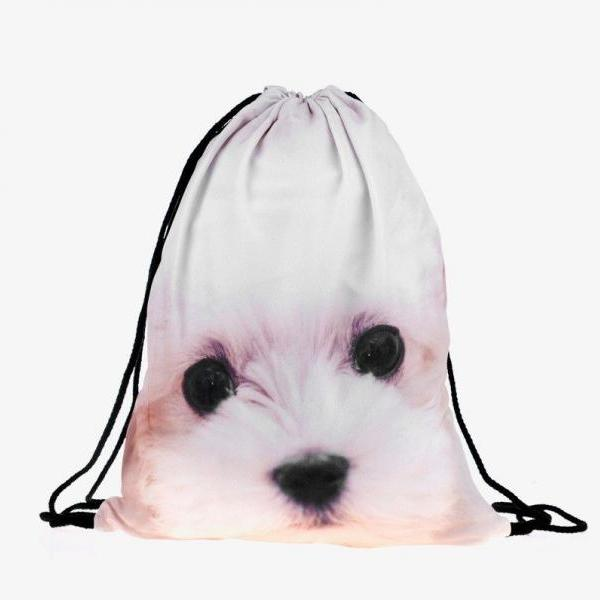 My Puppy Casual Fun School Girl Teenage Drawstring Bag Woman Softback Backpack