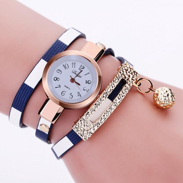 Long bracelet blue band fashion rhinestones woman dress watch