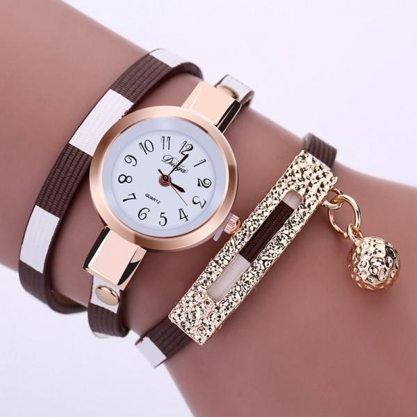 Long bracelet brown band fashion rhinestones woman dress watch