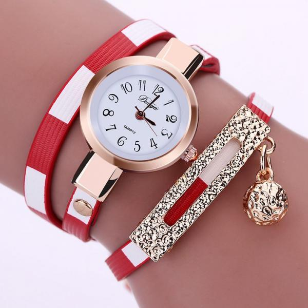 Long bracelet black band fashion rhinestones woman dress watch