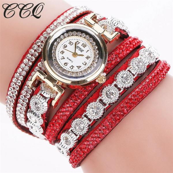 Crystals Rhinestones wrap bracelet red band fashion rhinestones woman dress watch