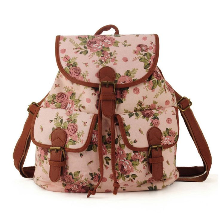 Bolsa Estilo Satchel : Cute school fashion pink floral girl backpack on luulla